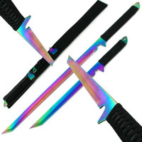 Dual Rainbow Blade Full Tang Ninja Swords w- Sheath