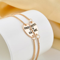Europe Style Partners In Crime Letter Hearts Alloy Friendship BraceletsJewelry Friendship Gifts To Best Friend