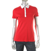 Tommy Hilfiger Womens Pique Gingham Trim Polo Top
