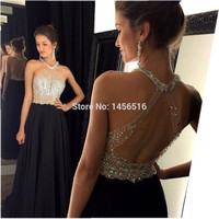 9211W Sexy A-Line Black Prom Dress 2016 Long Halter Beaded Backless vestidos de fiesta Formal Evening Gown Party Pageant Dresses