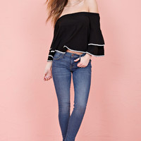 Ruffle Off The Shoulder Top - Black