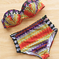 Vintage Print Floral Bandage High Waist Swimsuits Bikinis Set