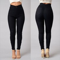 Womens Candy Pants Pencil Black Trousers Spring Fall Stretch Pants