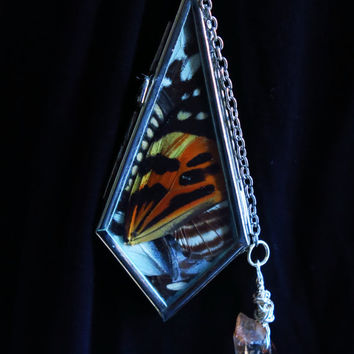 Butterfly Wing Locket Necklace with Crystal Charm