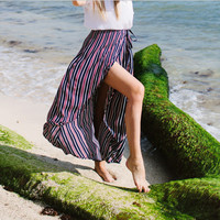 Multicolor Drawstring Maxi Skirt with High Slit