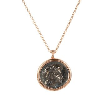 Handmade 22CT Rose Gold Caesar Roman Coin Pendant Necklace