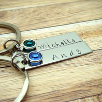 Birthstone Name Keychains, Couples Keychains, Personalized Gift , Anniversary Gift