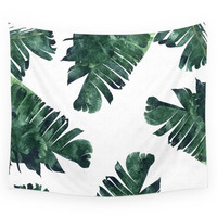 Society6 Banana Leaf Watercolor Pattern #society6 Wall Tapestry