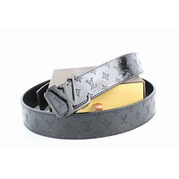Louis Vuitton Woman Men Fashion Smooth Buckle Belt Leather Belt Skin Belts LV Beltt093