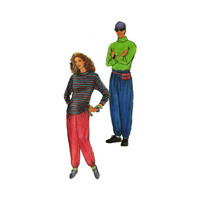"""1990's Simplicity 7526 Woman's or Man's Pants and T-Shirts in Size XS-XL    Chest 30- 48"""" /76-  122cm    Vintage Sewing Pattern UNCUT"""