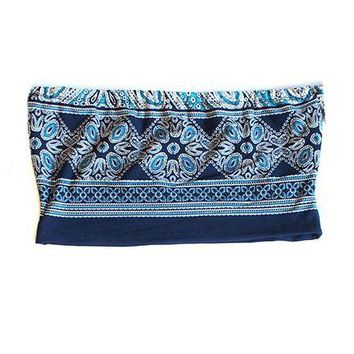 Paisley Tube Top- Blue