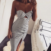 Hot Popular Summer Women Stripes Printed Black White Slim Fit One Piece Dress Tube Bra Top Banheau _ 12170