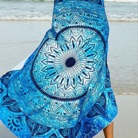 Round  Beach Towel Decorative Wall Hanging Picnic Beach Sheet Coverlet Bohemian Mandala Wall Tapestry 11743 148cm*148cm