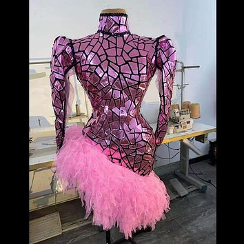 Fashion Pink Sequin Party Bodycon Dress Women Puff Sleeve Sexy Prom Dress Latin Dance Stage Short Dress Club Performance Wear