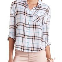 White Combo High-Low Button-Up Plaid Top by Charlotte Russe