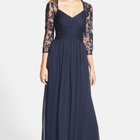 Adrianna Papell Embellished Lace Yoke Pleat Mesh Gown