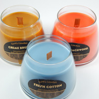 Highly scented wood wick candles in a 12 oz glass round container great for present for Valentines Day