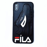 FILA Fashionable Women Men Silicone Mobile Phone Cover Case For iphone 6 6s 6plus 6s-plus 7 7plus 8 8plus X XsMax XR Black