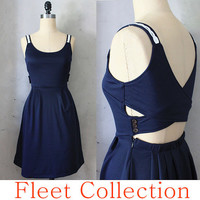 DERICA in Navy Blue - Jumper Dress with Crochet Shoulder Strap Trim, Flared Skirt and Buttoned Cross Back Detail - XS, S, M, L, XL