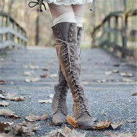 2016 Mid Heel Grey Black Leather Cowboy Women Boots Retro Autumn Winter Boots Lace Up Knee High Boots Shoes Woman Botas Mujer