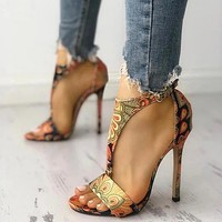 Fashion women's shoes stiletto high heels large size printing sexy high heel sandals