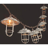 Silver Metal Cage Patio String Lights Clear Bulbs