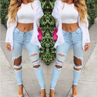 FASHION HOLE JEANS STRETCH PANTS
