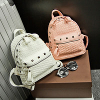 Brand Like Fashion Leather Rivet Shoulder Candy Multi Color Women Casual Backpack Messenger Bags Chic Back Pack  _ 8301
