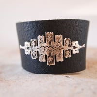 Engraved Silver and Black Leather Cuff / Bracelet -  Adjustable  Bracelet -  Wide Leather Band - Art Jewelry
