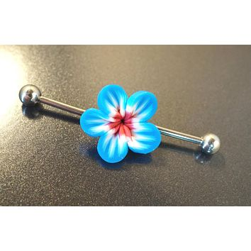 Blue and Maroon Hawaiian Flower Industrial Bar Barbell Piercing Upper Ear Ring
