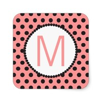 Your Initial And Polka Dots Square Sticker