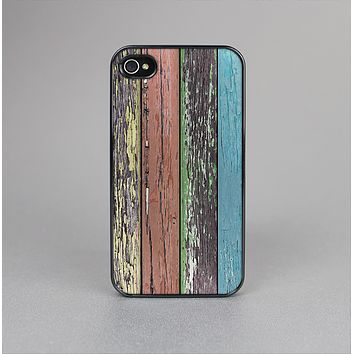 The Chipped Pastel Paint on Wood Skin-Sert for the Apple iPhone 4-4s Skin-Sert Case