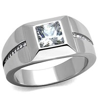 Mens Fashion Rings TK1916 Stainless Steel Ring with AAA Grade CZ