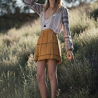 Free People Womens Piece Out Suede Mini Skirt