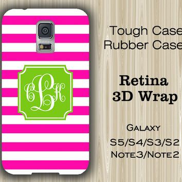 Pink Stripes Green Monogram Samsung Galaxy S5/S4/S3/Note 3/Note 2 Case