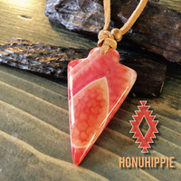 Dragon vein agate arrowhead necklace on leather cord, boho style, festival fashion