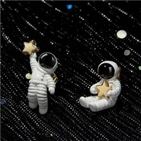 925 Sterling Silver Cute Asymmetric Earrings for Women Spaceman Stud Earrings for Women Brides Bridesmaid Giftsfor Girl