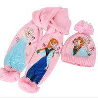Children Frozen Elsa And Anna Scarf And Caps Set Girls Pink Kids Accessory