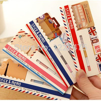 NEW vintage travel London & Paris & animals sticky notepad Memo message post marker Removable adhesive paper