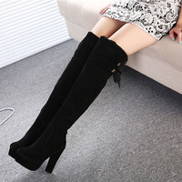 Womens Boots Winter Designer Women Thigh High Boots Black Suede Over The Knee Boots Lace Up Retro Knight Boots Alternative Measures