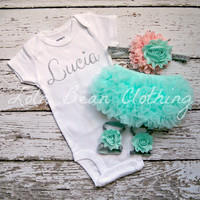 Baby Girl Take Home Outfit Newborn Baby Girl Custom Onesuit Bloomers Headband Sandals Set Mint Peach Silver Customized Onesuit