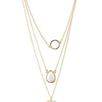 Layered Ring & Heart Charm Necklace by Charlotte Russe - Gold
