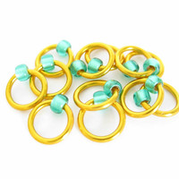 Extra Small Stitch markers for socks | Lace stitch marker | Handmade stitchmarkers | Knitting tools | copper rings; green beads | #0528