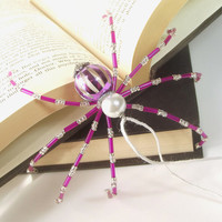 """Christmas Spider - Purple and Silver, Beaded Christmas Spider -- """"Legend of the Christmas Spider"""""""