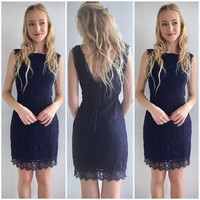 Lace Vintage Bodycon in Navy