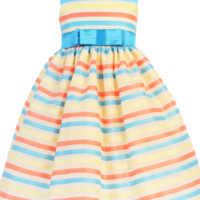 Ivory Striped Organza Girls Dress w. Turquoise Sash 6m-7