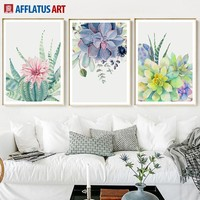 Wall Art Canvas Painting Posters And Prints Watercolor Cactus Flower Succulent Canvas Prints Wall Pictures For Living Room Decor