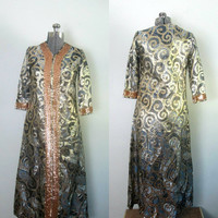Mid Century Regency Lame Gown Sequined Caftan 1950s 1960s Vintage Hostess
