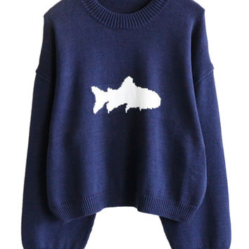Navy Fish Pattern Knitted Sweater