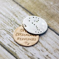 Scorpio zodiac constellation necklace with traits in sterling silver and gold